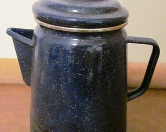 Vintage Blue Enamel Ware Dark Blue Coffee Pot