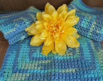 Crochet dishcloths, 5 ocean blue cotton dish cloths or washcloths, dish rags kitchen cleaning, housewarming gift hostess gift unpaper towels