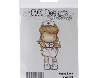 NURSE LUCY STAMP - by Swiss Pixie - Cling Stamp for Cards and Scrapbooking