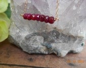 Ruby Necklace, Natural Ruby Necklace, Minimalist Ruby Bar Necklace,14kt Gold Filled Rudy Necklace