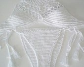 Crochet Bikini top and brazilian bottom ,White Swimwear, Crochet Swimsuit, Sexy crochet beach wear,Crochet top and bottoms