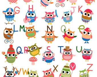 Font owls Digital clip art for Personal and Commercial use - INSTANT DOWNLOAD