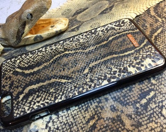 Leather iPhone 6 Or 6 Plus case Exotic Boa Constrictor Skin (Natural color)