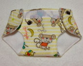 cloth doll diaper/stuffed animal cloth diaper/adjustable size diaper for dolls and stuffed animals jungle friends on yellow/white stripes