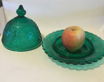 TURQUOISE BUTTER DISH Teal Candy Dish Vintage Glass Dish with Dome Top Regency Serving Cottage Chic Blue Green at Ageless Alchemy