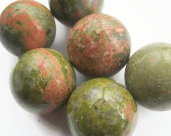 25mm Unakaite Sphere, 1 (One) Gemstone Sphere, 1 inch Epidote Gemstone, Crystal Ball, Metaphysical Supply, Heart Naval Chakra, Reiki, Chakra