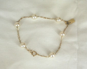 gold filled pearl dead stock bracelet