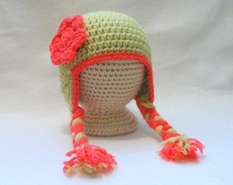 CLEARANCE Baby Girl's Crocheted Hat Beanie Light Green with Coral Flower and Trim Sized 0 - 3 months Baby Girl's Earflap Beanie