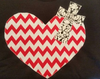 Heart and cross tshirt