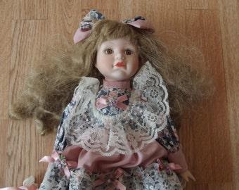 Vintage Porcelain Doll, Vintage Porcelain Doll in her Sunday best, (1980's) - RARE