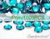 4mm/1000pcs Peacock Blue Flatback Rhinestone Crystal accessories material supplies