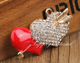 1PCS Bling Crystal Rhinestone Red LOVE flatback Alloy jewelry For Phone case deco