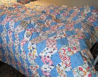 Vintage Blue Quilt 1940 Bed Cover