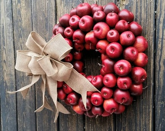Apple Wreath, Red Apple Wreath, Christmas Wreath, Holiday Wreath, Fall Wreath, Autumn Wreath