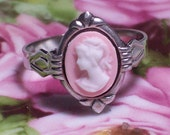 Small Pink with White Profile Cameo Ring, Adjustable Ring, Pink Cameo Adjustable Ring