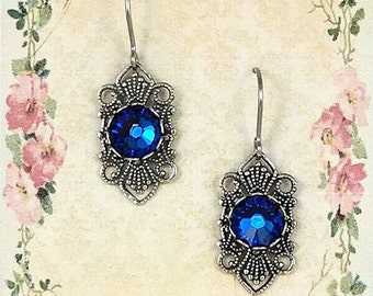 Sapphire Crystal Earrings made with Swarovski® Crystals on Siver Tone Filigree, Vintage/Victorian Style, Estate Style Earrings, Nickel Free