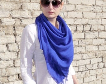 Summer Scarf / Blue Cotton Scarf / Square Scarf / Women's Summer scarf / Gift For Girlfriend / Gift For Her