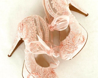 Wedding Shoes Bridal Embroidered Blush Lace With Pearls And Ribbons