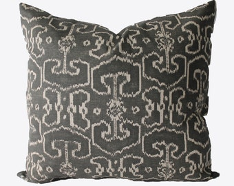 Decorative Designer Lacefield Bengali Grey Pillow Cover,  18x18, 20x20, 22x22 or Lumbar Throw Pillow