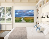 Large Photography Beach Decor Canvas Gallery Wrap Nantucket Photo Coastal Decor Dune Path Blue Purple Green Yellow Beige Living Room Bedroom