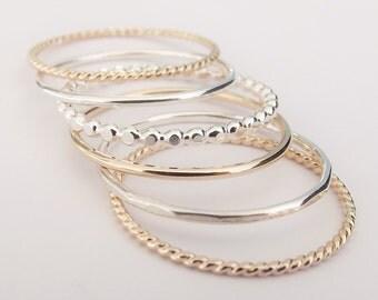 Silver and Gold Stacking Set,6 Ring Set,Stacking Rings,Set,Multi Texture Ring Set,Textured Rings,Stacking Rings Set,Gold Rings,Silver Rings