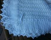 White crochet christening baptism baby boy blanket with ribbon