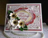 """Stampin up! Spellbinders and Sizzix Wedding Handmade """"Happy Wedding Day"""" card - NEW"""