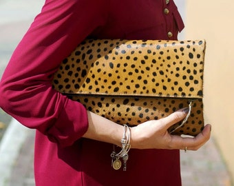 Leopard Print Calf Hair Fold Over Zipper Pouch Leather Clutch