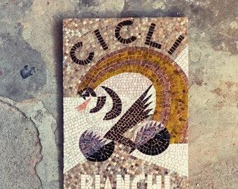 mosaic art / vintage style mosaic / violet, brown, yellow / CICLI BIANCHI poster / Depero, italian avant-garde / geometric mosaic