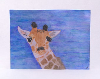 Original Baby Giraffe Watercolor Painting