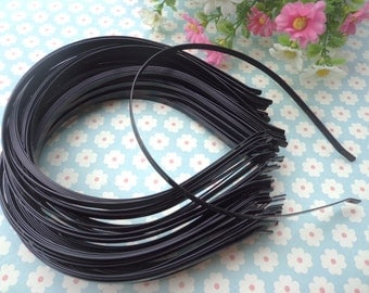 Plain black colored iron metal headband - 100pcs 5mm