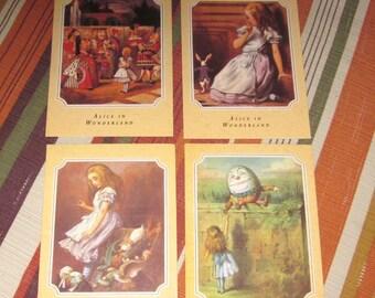 Set 4 Alice in Wonderland Postcards Printed in England