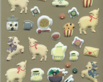 Japanese/ Korean puffy sticker- Lamb and Tea time