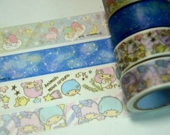 A Set of 4 Rolls Japanese Washi Masking Paper Tape: The Little Twin Stars