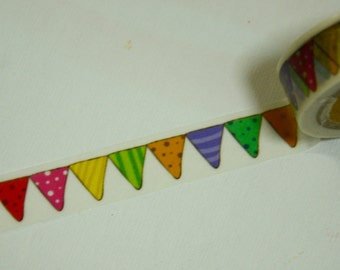 1 Roll Japanese Washi Masking Paper Tape: Colorful Garland