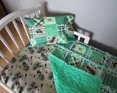 JOHN DEERE Fabric Toddler Crib Bedding SET I Dig Dirt Work Hard Play Harder Rag Quilt  Sheet & Pillow Case