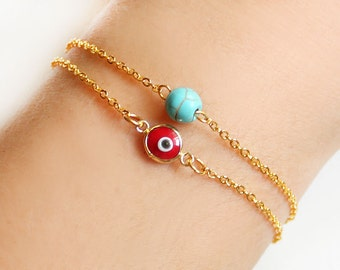 Turkish evil eye bracelet, red turquoise, turquoise bracelet, istanbul, turkey, arabic, fashion, red evil eye, ethnic bracelet