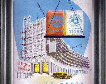 1962 TITAN Τσιμεντα Advertisement Original Greek Vintage Magazine APXITEKTONIKH  Ready To Frame