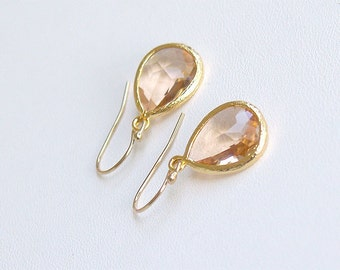 Champagne Drop Earrings in Gold - Bridesmaid Earrings - Blush Earrings - Peach Earrings Gift For Her - Wedding Jewelry, Bridesmaid Jewelry