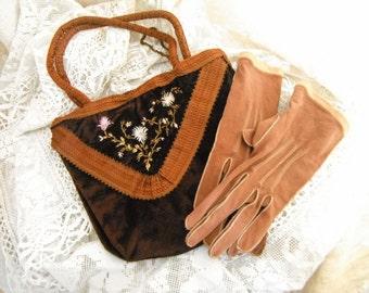 French Vintage, Vintage Handbag  ,Vintage Purse , Vintage  Gloves , Silk Purse , French Reticule, Silk Velvet, Embroidered, Bride Wedding