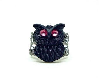 Owl Ring, Owl Jewelry, Black Owl Ring, Adjustable Ring, Filigree Ring, Gunmetal Ring, Kawaii Ring, Cocktail Ring, Novelty Ring
