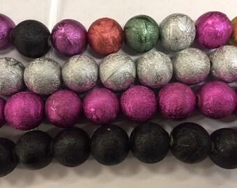 15 mm foil acrylic bead, 22 beads