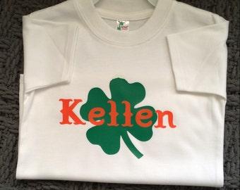 St Patricks Day shirts, Shamrock & Name, Personalized Baby TShirt, Toddler name shirt, Toddler personalized, Irish baby bibs, baby bodysuit