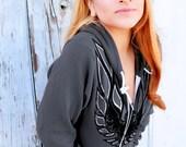Black & White Firebird on Asphalt Grey or Cranberry (unisex fit) hoodie