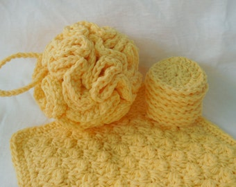 Spa Bath Set in your choice of color - Crochet Bath Puff - Home Spa Accessories - Cotton Anniversary Gift for Her