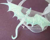 Dragon Necklace, Handmade, Snow Queen, iridescent with white organza tied ribbon or silver plated chain.