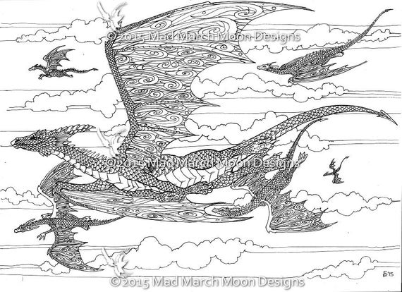 detailed dragon coloring pages - photo #22
