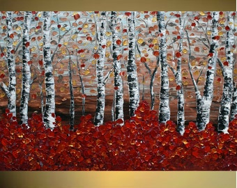 Original Modern   Birch Forest   Heavy Impasto Texture    Palette Knife  Acrylic    Painting.  Size 40 x 30