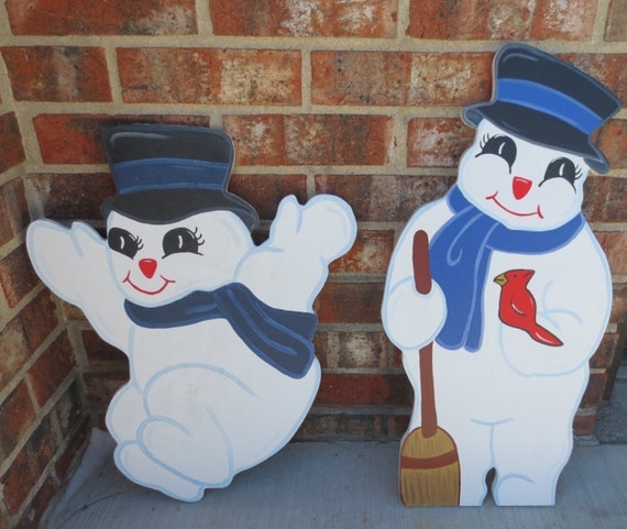 Playful snowmen wood outdoor yard art lawn by chartinisyardart - Decoration de noel exterieur en bois ...