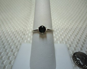 Round Cut Chrome Tourmaline Ring in Sterling Silver   #1398